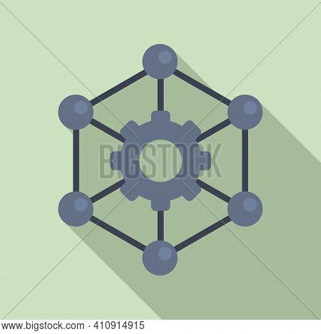 Nanotechnology Gear Structure Icon. Flat Illustration Of Nanotechnology Gear Structure Vector Icon F
