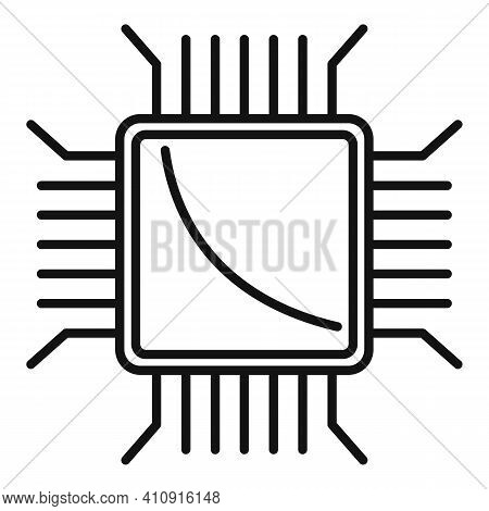 Nanotechnology Pc Microchip Icon. Outline Nanotechnology Pc Microchip Vector Icon For Web Design Iso