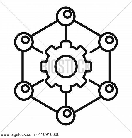 Nanotechnology Gear Structure Icon. Outline Nanotechnology Gear Structure Vector Icon For Web Design