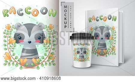 Cute Raccon In Forest Poster And Merchandising. Vector Eps 10