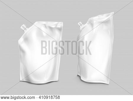 Foil Bag With Lid On Corner, Doypack For Liquid Food Isolated On Gray Background. Vector Realistic M