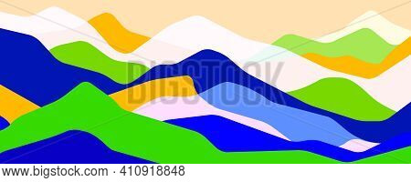 Multicolor Mountains, Translucent Waves, Abstract Color Glass Shapes, Modern Background, Summer Land