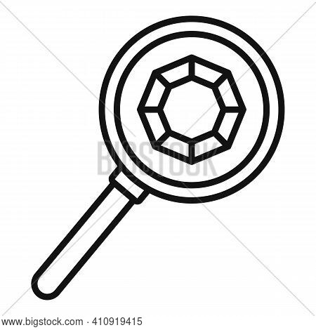 Jeweler Magnifier Icon. Outline Jeweler Magnifier Vector Icon For Web Design Isolated On White Backg