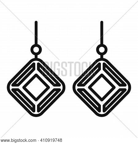Gemstones Earrings Icon. Outline Gemstones Earrings Vector Icon For Web Design Isolated On White Bac