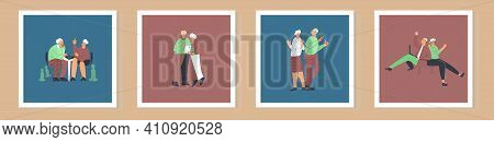 Set Of Card With Elderly People Lifestyle. Senior Couple Having Fun. Old Lady And Gentlemen Leisure.