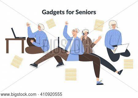 Elderly People Lifestyle With Modern Technology Gadget. Senior Citizen With Laptop Computer Headphon