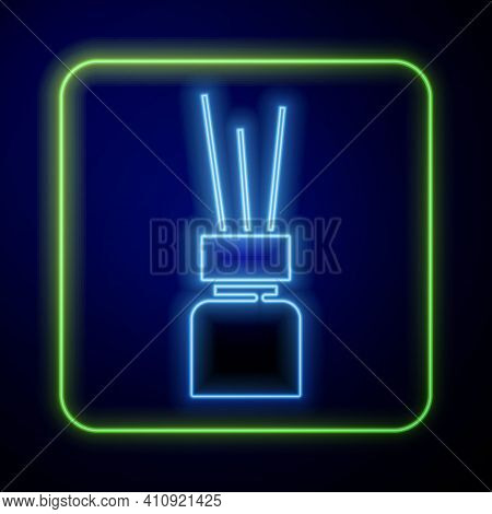 Glowing Neon Aroma Diffuser Icon Isolated On Blue Background. Glass Jar Different With Wooden Aroma