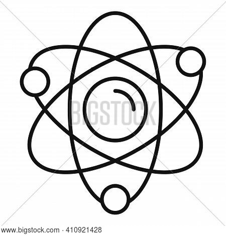 Atom Energy Icon. Outline Atom Energy Vector Icon For Web Design Isolated On White Background