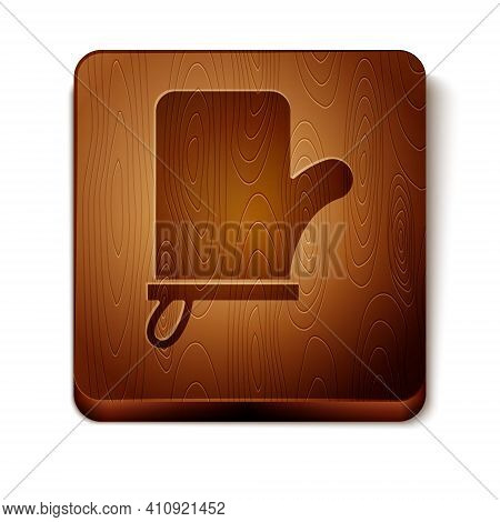 Brown Sauna Mittens Icon Isolated On White Background. Mitten For Spa. Wooden Square Button. Vector