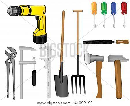 Vector A Tooling A Drill An Axe A Hammer A Pitchfork A Shovel Of A Screw-driver A File A Clip