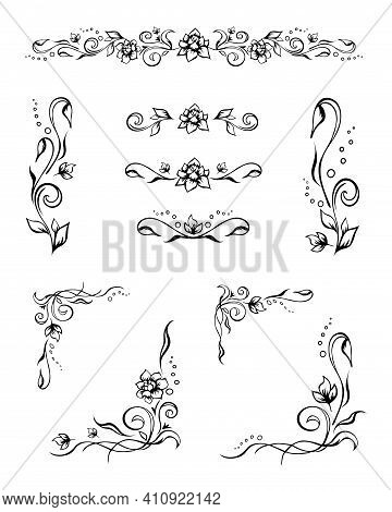 Set Of Various Matching Elegant Floral Text Dividers And Stylish Frame Corners With Roses, Buds, And