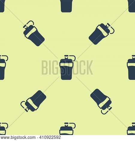 Blue Fitness Shaker Icon Isolated Seamless Pattern On Yellow Background. Sports Shaker Bottle With L