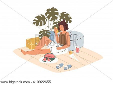 Person Relaxing With Pet At Home On Hot Summer Day. Woman Chilling Indoors With Refreshing Drink And