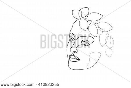 Continuous One Single Line Art Girl Face Concept. Beautiful Woman Portrait Fashion Hair Hand Drawn S