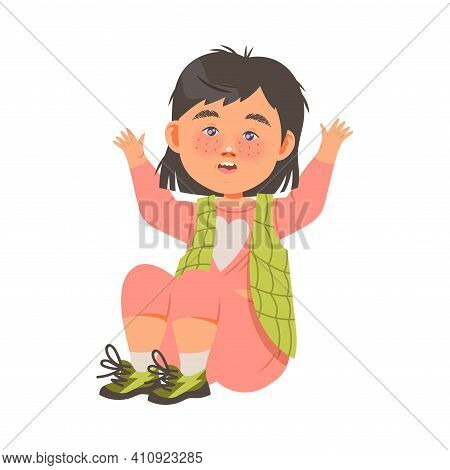 Cute Freckled Girl Sitting Raising Hands Up With Joy And Excitement Vector Illustration
