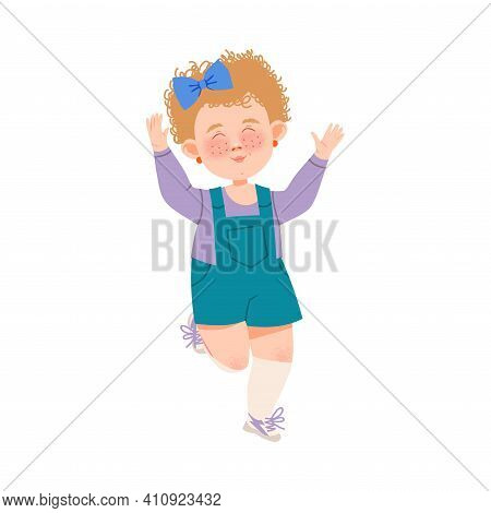 Cute Freckled Girl With Bow On Her Head Jumping With Joy And Excitement Vector Illustration