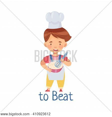 Little Boy In Toque At Kitchen Beating Dough With Whisk Vector Illustration