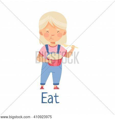 Little Girl At Kitchen Eating Porridge With Spoon For Breakfast Vector Illustration