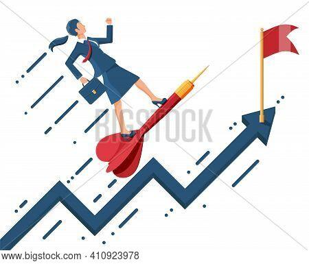 Businesswoman Aim Arrow To Target. Goal Setting. Smart Goal. Business Target Concept. Achievement An