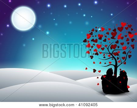 Valentines Day winter background with sitting couple silhouette under the love tree. EPS 10.