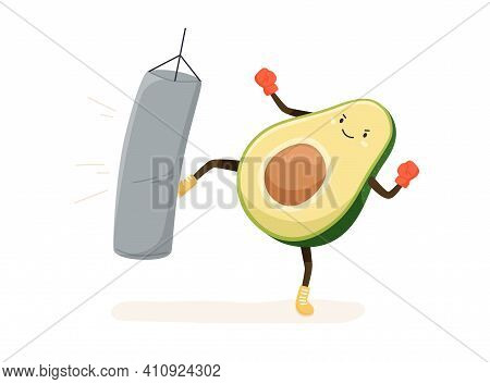 Cute And Strong Avocado Boxing In Boxers Gloves And Kicking Punching Bag With Leg. Funny Comic Fat V