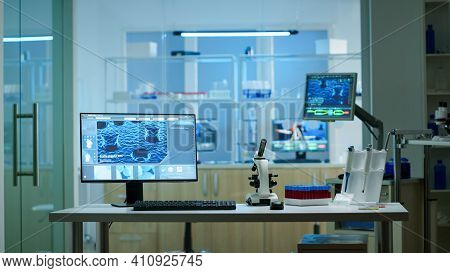 Chemist Laboratory With Nobody In It Modernly Equipped Prepared For Pharmaceutical Innovation Using