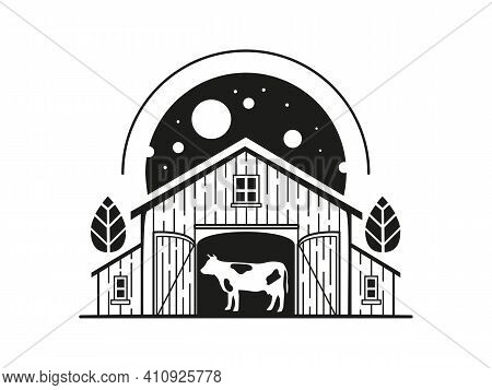 Illustration With A Cow Inside A Barn