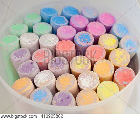 A Large Bucket Of Large Multi-colored Pieces Of Chalk. Outdoor Painting Set. Children's Entertainmen