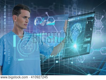 Male doctor touching screen with scientific data processing and human brain. global medicine science and technology concept digitally generated image.