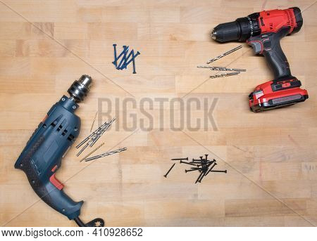 Power Drill Background with Drill Bits and Screws