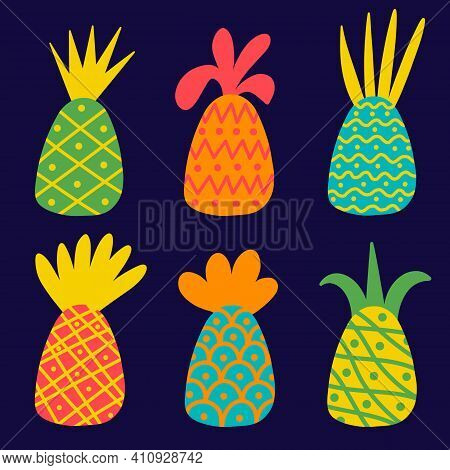 Bright Pineapples With Ornament Set. Vector Set Of Icons With Pineapples In Flat Style