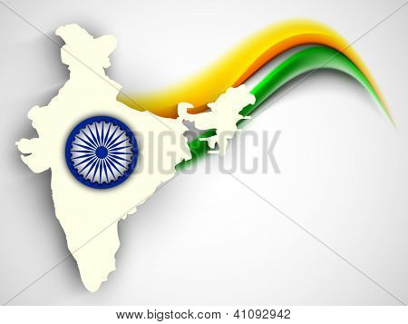 India map on national flag color creative wave background with Asoka wheel. EPS 10.