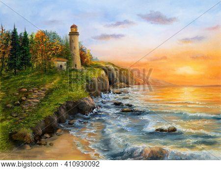 Original Oil Painting Of  Lighthouse And Cliffs.golden Sunset Over Ocean Coastline On Canvas.modern