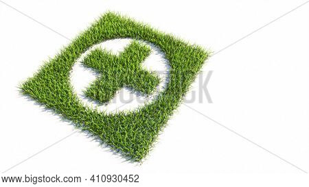 Concept or conceptual green summer lawn grass symbol shape isolated white background, sign of  cross sign. 3d illustration metaphor for medical care assistance, emergency doctor, pharmacy or  hospital
