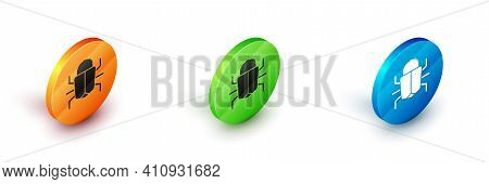 Isometric System Bug Concept Icon Isolated On White Background. Code Bug Concept. Bug In The System.