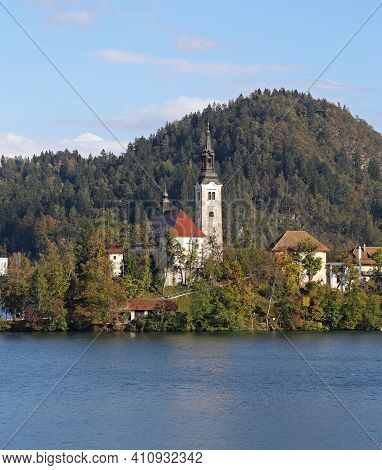 Island With Church At Bled Lake In Slovenia