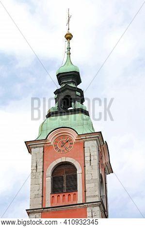 Clock Tower At Roman Catholic Church In Ljubljana Slovenia