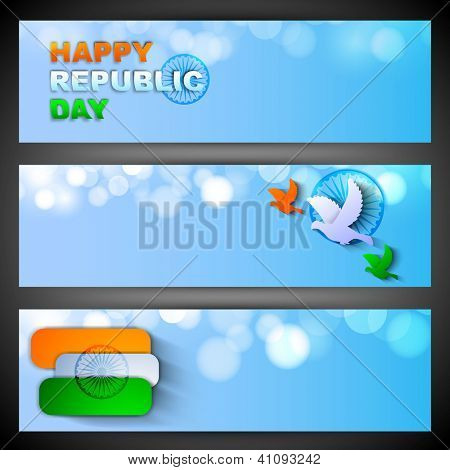 Creative Indian Republic Day design,  website headers or banners set. EPS 10.