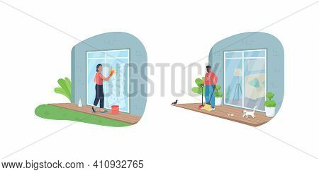 Outdoor House Cleaning Flat Color Vector Faceless Character Set. Sweeping Dirt On Deck. Wash Window.