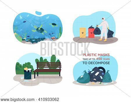 Covid Rubbish 2d Vector Web Banner, Poster Set. Water Pollution After Pandemic. Cleaning Environment