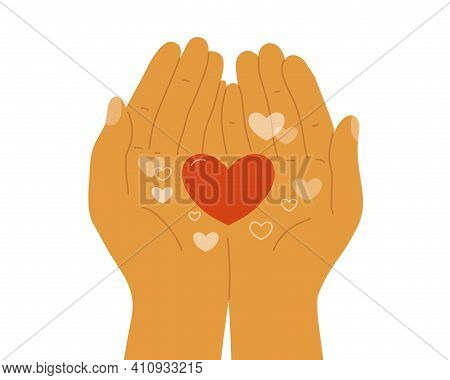Human Hands Holding Heart Shapes In Palms. Empathy, Sharing, Giving Love. Charity Donate, Volunteer