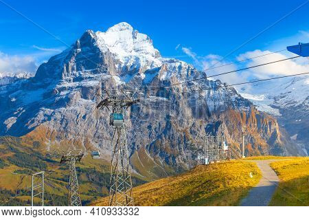 Grindelwald, Switzerland Jungfrau Cable Car Cabins Arriving To High Station First And Autumn Swiss A