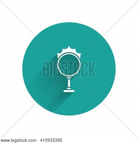White Circus Fire Hoop Icon Isolated With Long Shadow. Ring Of Fire Flame. Round Fiery Frame. Green