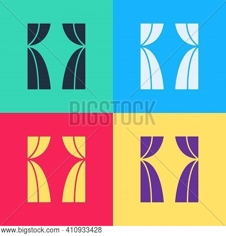 Pop Art Circus Curtain Raises Icon Isolated On Color Background. For Theater Or Opera Scene Backdrop