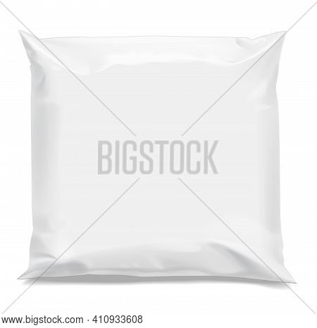 White Realistic Polyethylene Bag. Packing For A Parcel Or Food And Other Products . Mock Up For Bran