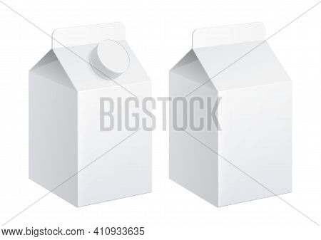 Realistic Carton Of Milk Carton Package 500ml. Version With And Without Cap. Vector Illustration.