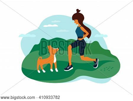 Outdoor Activities Vector Illustration. Young Woman Walking In Park, Doing Fit Squats, Sport Exercis