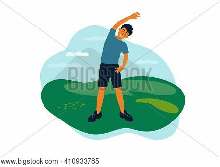 Outdoor Physical Activities, Healthy Lifestyle Concept. Man Doing Side Bends, Sport Exercise, Stretc