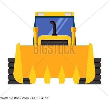Bulldozer Front View. Special Machinery In Cartoon Style.