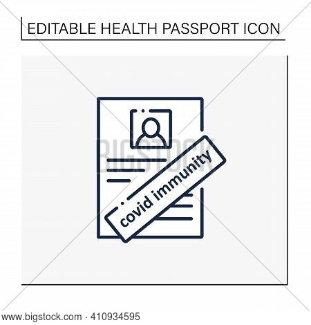 Covid Immunity Line Icon. Health Passport. Sign About Person Health. Protection Against Coronavirus.